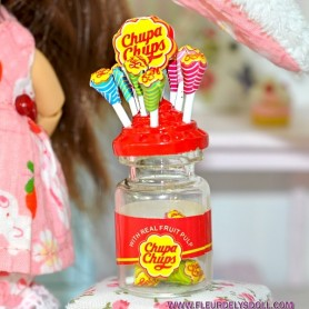 CHUPA CHUP LOLLIPOPS HOLDER BOTTLE MINIATURE LATI YELLOW BARBIE FASHION ROYALTY BLYTHE PULLIP SYBARITE DOLLHOUSE DIORAMA 1:6