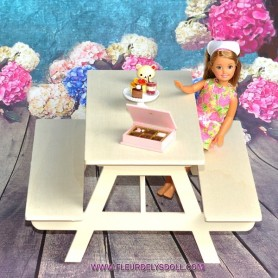 LARGE WOODEN PICNIC TABLE AND BENCH FOR BARBIE FASHION ROYALTY BLYTHE PULLIP MOMOKO MONSTER HIGH DOLLHOUSE DIORAMA 1/6