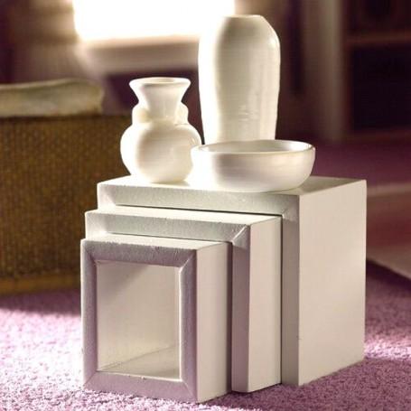 IKEA MODERN WHITE NEST OF TABLES DOLLHOUSE DIORAMA LATI YELLOW PUKIFEE BJD FURNITURE 1:12
