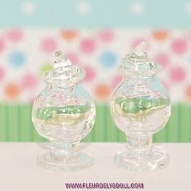 GLASS PEDESTAL CANDY JAR & LID MINIATURE BARBIE FASHION ROYALTY BLYTHE PULLIP DIORAMA DOLLHOUSE 1/12