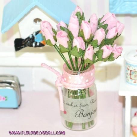 Dollhouse Miniature or Barbie Glass Flower Vase
