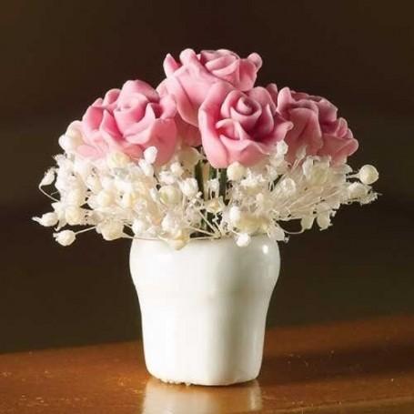 BEAUTIFUL PINK ROSE ARRANGEMENT IN VASE MINIATURE LATI YELLOW PUKIFEE BJD BLYTHE PULLIP BARBIE DOLL ROOM DIORAMA DOLLHOUSE