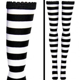 SEXY STOCKINGS BLACK ZEBRA STRIPES FOR BARBIE SILKSTONE FASHION ROYALTY DOLLFIE DOLLS