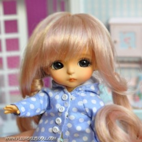 PERRUQUE WIG LOVE PINK MOHAIR POUR LATI YELLOW PUKIFEE BJD 5/6