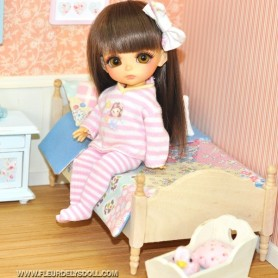 SHABBY WOOD BED MINIATURE BJD LATI YELLOW PUKIFEE PULLIP DIORAMA DOLLHOUSE DIY
