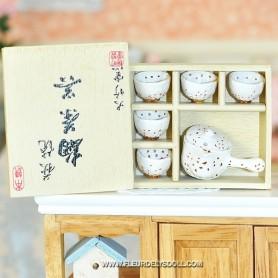 CHINEESE SET IN BOX MINIATURE LATI YELLOW BARBIE FASHION ROYALTY BLYTHE PULLIP DOLL DIORAMAS 1:6 DOLLHOUSE