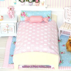 WOODEN SINGLE LINEA BED FOR SMALL DOLL BJD STODOLL OB11 LATI YELLOW PUKIFEE ...1/9