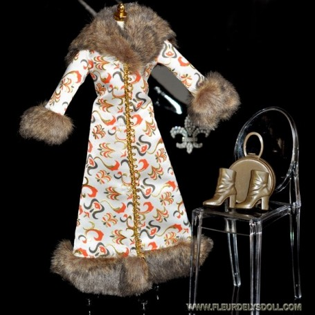 BEAUTIFUL FUR COAT + BAG + BOOTS OUTFIT BARBIE FASHION ROYALTY SILKSTONE