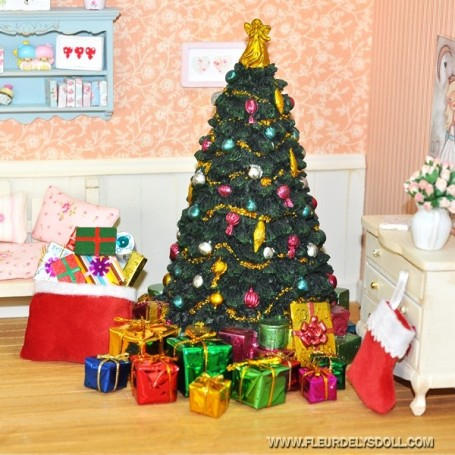 BIG XMAS TREE 18 CM MINIATURE MINIATURE LATI YELLOW PUKIFEE LATI WHITE PUKIPUKI BLYTHE PULLIP DOLLHOUSE DIORAMA 1:12 1:6