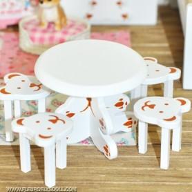 WOOD TABLE + 4 CHAIRS FOR LATI WHITE PUKIPUKI DOLLHOUSE DIORAMA BJD FURNITURE 1:12