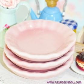PINK CERAMIC LARGE PLATE DISH 4.5 CM MINIATURE LATI YELLOW BARBIE FASHION ROYALTY BLYTHE PULLIP SYBARITE DOLLHOUSE DIORAMA 1:6
