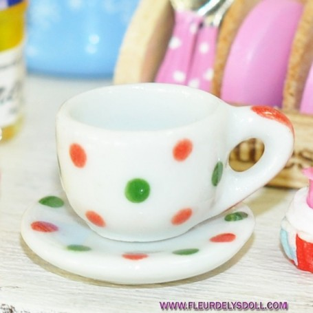 CUP AND SAUCER MINIATURE TEA CATH KIDSTON LATI YELLOW BARBIE FASHION ROYALTY BLYTHE PULLIP DIORAMAS 1/6