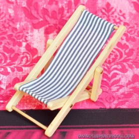 BEACH GARDEN DECKCHAIR MINIATURE LATI YELLOW PUKIFEE DOLLHOUSE DIORAMA FURNITURE 1:12