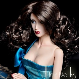 "BROWN BLACK OLYMPE WIG FOR SYBARITE KINGDOM AVANT GUARD FICON NUMINA JAMIESHOW DOLLS 4/5"" 5"""