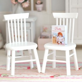 WHITE WOOD SHABBY CHAIR MINIATURE FOR LATI YELLOW PUKIFEE DOLLHOUSE, DIORAMA, FURNITURE 1:12