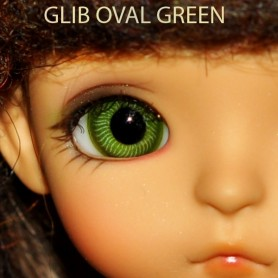 YEUX EN VERRE GREEN OVAL CLASSIC GLASS EYES 12 MM POUR POUPÉE BJD BALL JOINTED DOLL LATI YELLOW