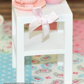 MINIATURE IKEA WHITE SQUARE SIDE TABLE FOR DOLLHOUSE, DIORAMA LATI YELLOW PUKIFEE FURNITURE 1:12