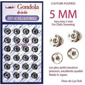 VERY TINY JAPANESE SNAP SILVER BUTTONS 5 MM DOLL SEWING SWEATER PANTS DRESS BJD LATI YELLOW PUKIFEE BARBIE ....