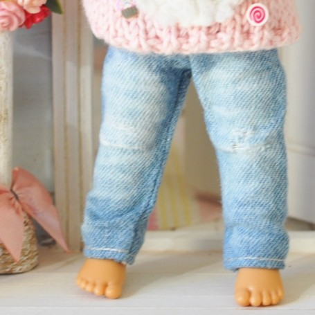 WASHED JEAN OUTFIT FOR BJD LATI YELLOW PUKIFEE AND OTHER SMALL DOLLS