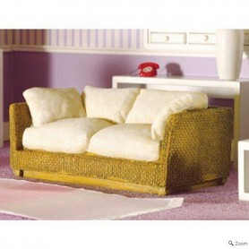 RATTAN SOFA MINIATURE SOFA SHABBY SOFA FOR DOLLHOUSE, DIORAMA, LATI YELLOW, FURNITURE 1:12