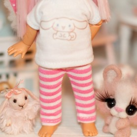 "PINK STRIPES LEGGING OUTFIT FOR BJD LATI YELLOW PUKIFEE AND OTHER 6"" DOLLS"