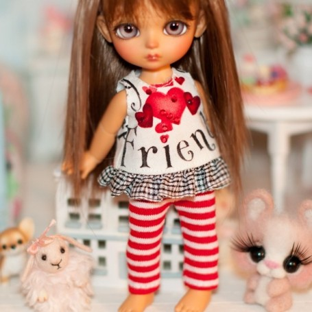 """RED STRIPES LEGGING OUTFIT FOR BJD LATI YELLOW PUKIFEE AND OTHER 6"""" DOLLS"""