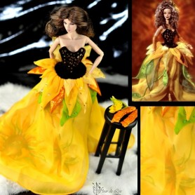 TENUE BARBIE SUNFLOWER FASHION ROYALTY BARBIE SILKSTONE