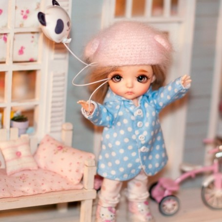 """BLUE DOTS TRENCH COAT OUTFIT FOR BJD LATI YELLOW PUKIFEE AND OTHER 6"""" DOLLS"""