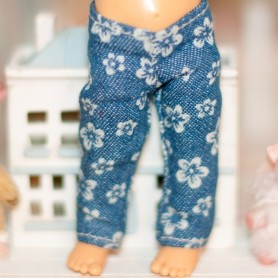FLOWERS DENIM JEAN OUTFIT FOR BJD LATI YELLOW PUKIFEE IRREALDOLL AND OTHER SMALL DOLLS