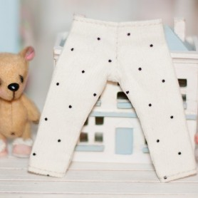 CREAM DOTS PANTS OUTFIT FOR BJD LATI YELLOW PUKIFEE AND OTHER SMALL DOLLS