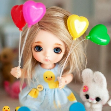LOVELY HEART BALOON FOR YOUR BJD DOLL LATI YELLOW PUKIFEE BLYTHE BARBIE PULLIP