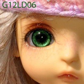 YEUX GLIB VERT LOVE GREEN 12LD06 REALISTIC EYES POUPÉE BJD BALL JOINTED DOLL LATI YELLOW PUKIFEE 12 mm