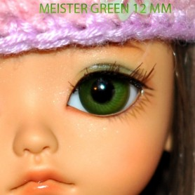 YEUX EN VERRE MEISTER GLASS EYES 10 mm VERTS GREEN POUPÉE BJD BALL JOINTED DOLL LATI YELLOW IPLEHOUSE YOSD