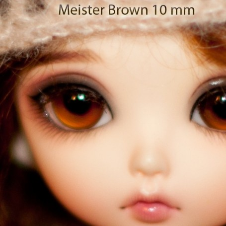 YEUX EN VERRE MEISTER GLASS EYES 10 mm NOISETTE BROWN POUPÉE BJD BALL JOINTED DOLL LATI YELLOW PUKIFEE YOSD
