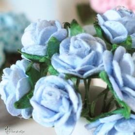 BEAUTIFUL BLUE ROSES FLOWERS MINIATURE LATI YELLOW PUKIFEE BJD BLYTHE PULLIP BARBIE DOLL ROOM DIORAMA DOLLHOUSE