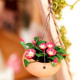 BEAUTIFUL HANGING BASKET OF FLOWERS MINIATURE LATI YELLOW PUKIFEE BJD BLYTHE PULLIP BARBIE DOLL ROOM DIORAMA DOLLHOUSE