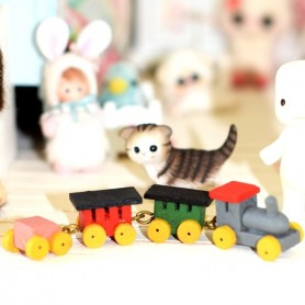 WOODEN TRAIN SET TOY MINIATURE BJD LATI YELLOW PUKIFEE LATI WHITE PUKIPUKI DOLLHOUSE DIORAMA