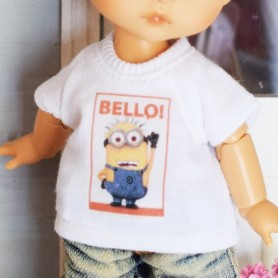 """TEE SHIRT MINION OUTFIT FOR BJD LATI YELLOW PUKIFEE AND OTHER 6"""" DOLLS"""