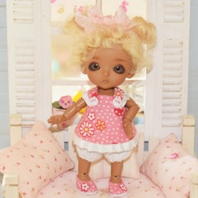 BERLINGOT 3 PIECES COMPLETE DRESS OUTFIT FOR BJD LATI WHITE AND OTHER SMALL DOLLS