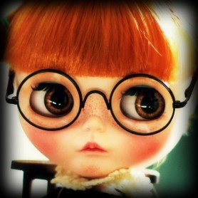 BEAUTIFUL GLASSES BLACK ROUND REAL GLASS FOR BLYTHE AND NEO BLYTHE DOLLS