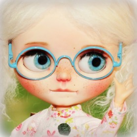BEAUTIFUL BLUE GLASSES REAL GLASS FOR BLYTHE AND NEO BLYTHE DOLLS