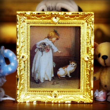 GOLDEN CAT FRAME MINIATURE BARBIE FASHION ROYALTY BJD BLYTHE PULLIP LATI YELLOW PUKIFEE DOLLHOUSE DIORAMA
