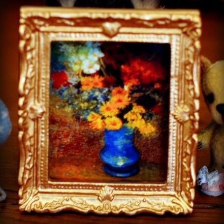GOLD FLOWERS VASE FRAME MINIATURE BARBIE FASHION ROYALTY BJD BLYTHE PULLIP LATI YELLOW PUKIFEE DOLLHOUSE DIORAMA