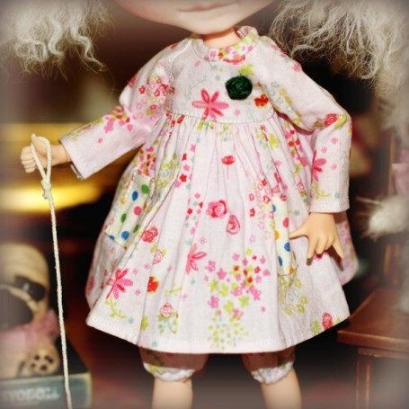 BEAUTIFUL HAND MADE DRESS AND BLOOMER FOR BLYTHE AND PULLIP DOLLS PURE NEEMO LICCA
