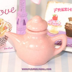 PINK TEAPOT MINIATURE TEA TIME LATI YELLOW BARBIE FASHION ROYALTY BLYTHE PULLIP DIORAMAS....