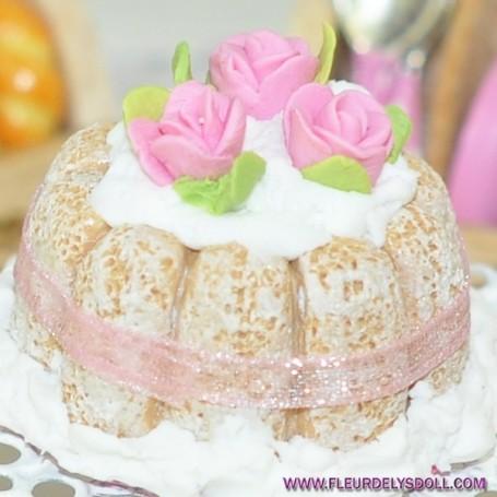 REALISTIC ROSE CHARLOTTE CAKE MINIATURE LATI YELLOW PUKIFEE BARBIE FASHION ROYALTY BLYTHE PULLIP DOLLHOUSE DIORAMA 1:6