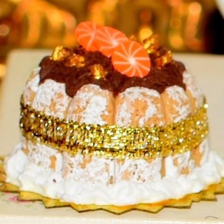 REALISTIC CHOCOLATE CHARLOTTE CAKE MINIATURE LATI YELLOW PUKIFEE BARBIE FASHION ROYALTY BLYTHE PULLIP DOLLHOUSE DIORAMA 1:6
