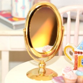 PSYCHE TILTING REAL MIRROR AND STAND MINIATURE BARBIE FASHION ROYALTY BJD BLYTHE PULLIP LATI YELLOW PUKIFEE DOLLHOUSE DIORAMA