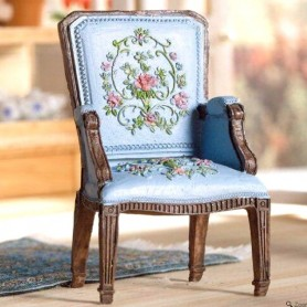 VINTAGE PRETTY BLUE GEORGE III ARMCHAIR CHAIR MINIATURE FOR DOLLHOUSE, DIORAMA, BJD, LATI YELLOW, PUKIFEE, FURNITURE 1:12