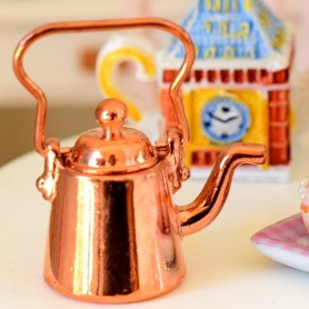 MINIATURE RETRO COPPER KETTLE LATI YELLOW BARBIE FASHION ROYALTY BLYTHE PULLIP DIORAMA DOLLHOUSE